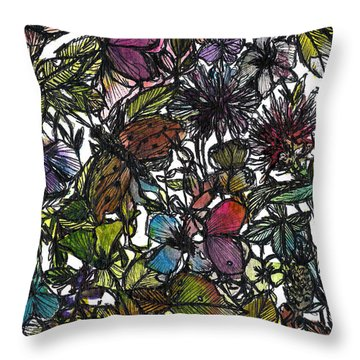 Hide And Seek In Wildflower Bushes Throw Pillow by Garima Srivastava
