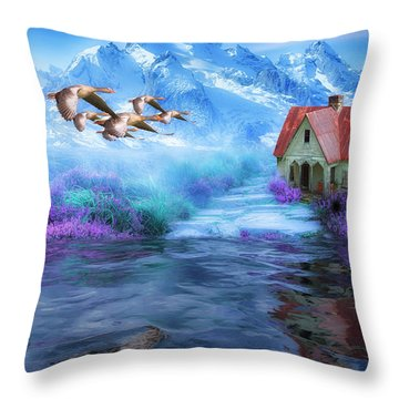 Hideaway In The Mountains Throw Pillow