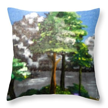 Throw Pillow featuring the painting Hideaway by Saundra Johnson