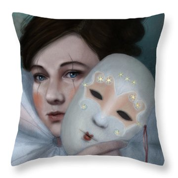 Hiding Behind Masks Throw Pillow