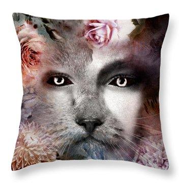 Hiding Catlady Throw Pillow
