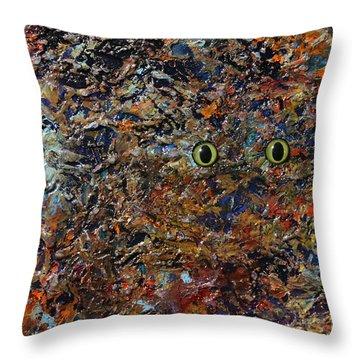 Hiding Throw Pillow by James W Johnson