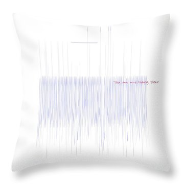Throw Pillow featuring the mixed media Hiding Place by Jessica Eli