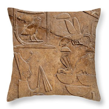 Hieroglyphs On Ancient Carving Throw Pillow