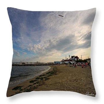Higbee Beach Throw Pillow by John Loreaux