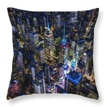 Throw Pillow featuring the photograph High Above The City by Roman Kurywczak