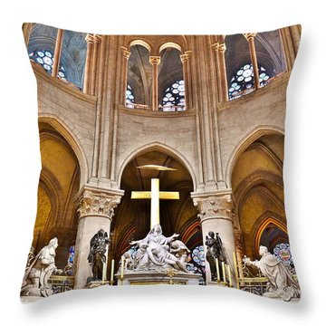 High Alter Notre Dame Cathedral Paris France Throw Pillow