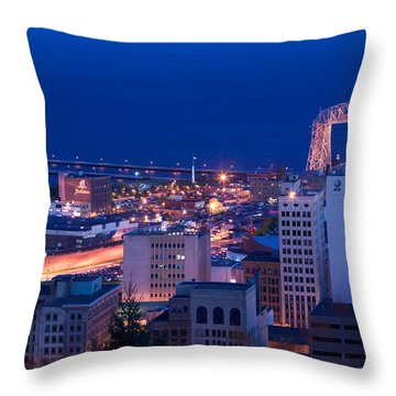 High Angle View Of A City, Canal Park Throw Pillow