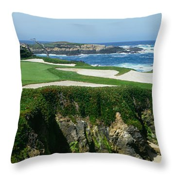High Angle View Of A Golf Course Throw Pillow by Panoramic Images