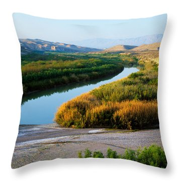 High Angle View Of Rio Grande Flood Throw Pillow