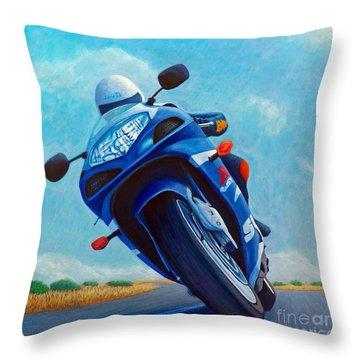 High Desert Pass - Suzuki Gsxr1000 Throw Pillow by Brian  Commerford