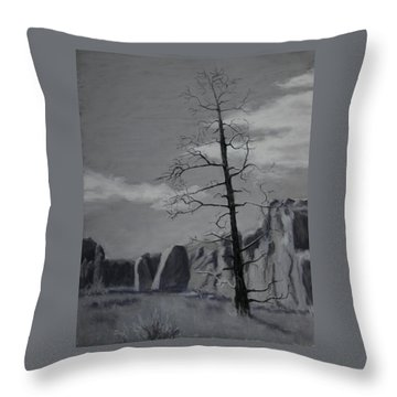 Throw Pillow featuring the painting High Desert Skeleton by Nancy Jolley