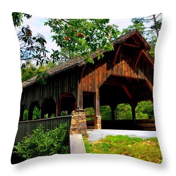 High Falls Covered Bridge Throw Pillow