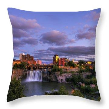 High Falls Dusk Throw Pillow