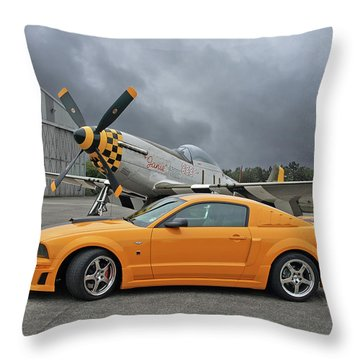 High Flyers - Mustang And P51 Throw Pillow