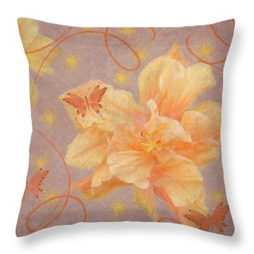 High Flying Hibiscus Throw Pillow