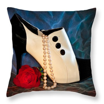 Throw Pillow featuring the photograph High Heel Spat Bootie Shoe by Patti Deters