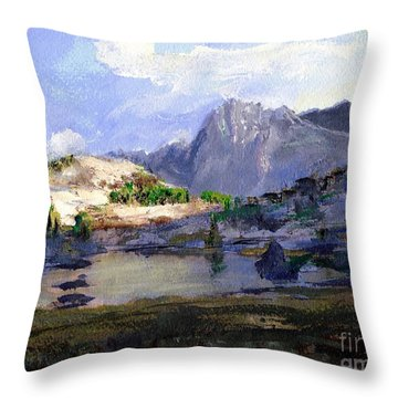 High Lake Throw Pillow by Randy Sprout