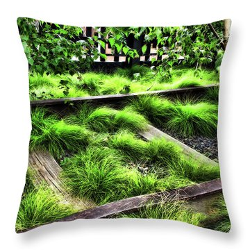 High Line Nyc Railroad Tracks Throw Pillow by Joan  Minchak