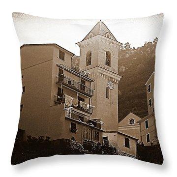 High Noon, Manarola - Sepia Throw Pillow