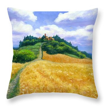Throw Pillow featuring the painting High Noon Tuscany  by Michael Swanson