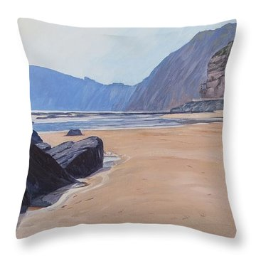 Throw Pillow featuring the painting High Peak Cliff Sidmouth by Lawrence Dyer