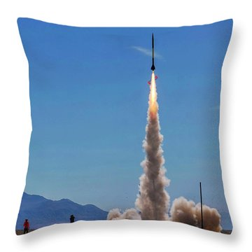 Throw Pillow featuring the photograph High Power Rocket Certification Flight by Peter Thoeny