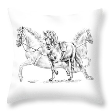 High School Dance - Lipizzan Horse Print Throw Pillow