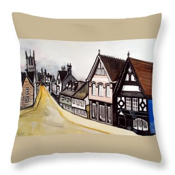 High Street Of Stamford In England Throw Pillow
