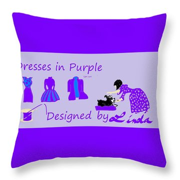 High Style Fashion, Dresses In Purple Throw Pillow