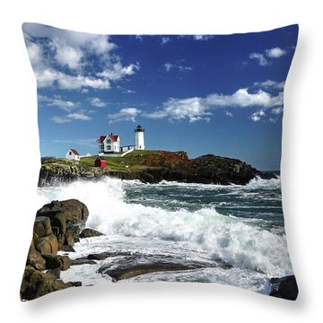 High Surf At Nubble Light Throw Pillow