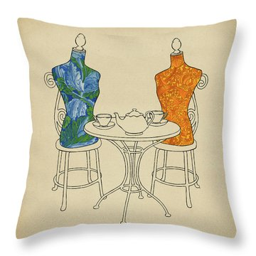 Throw Pillow featuring the painting High Tea by Meg Shearer