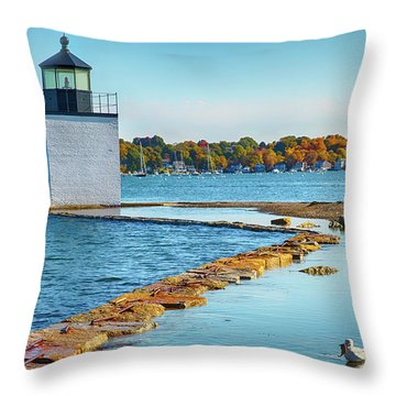 Throw Pillow featuring the photograph High Tide At Derby Wharf In Salem by Jeff Folger
