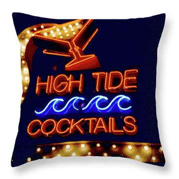 High Tide Cocktails Throw Pillow