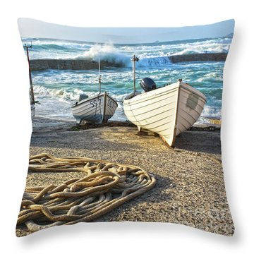 Throw Pillow featuring the photograph High Tide In Sennen Cove Cornwall by Terri Waters