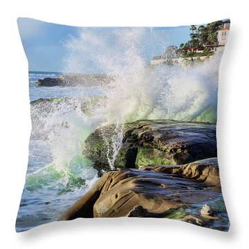 Throw Pillow featuring the photograph High Tide On The Rocks by Eddie Yerkish