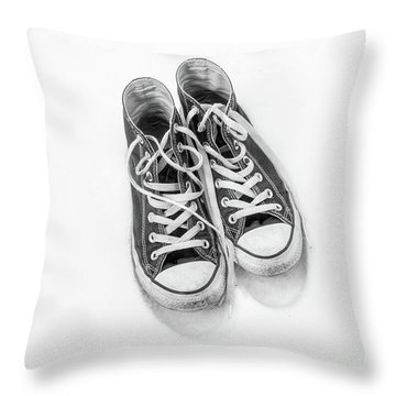 Throw Pillow featuring the digital art High Tops In Snow Black And White by Randy Steele