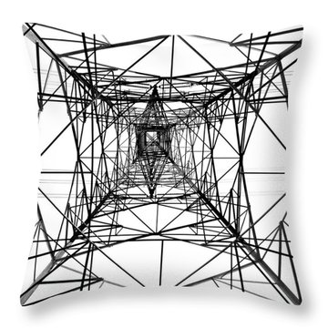 High Voltage Power Mast Throw Pillow by Yali Shi