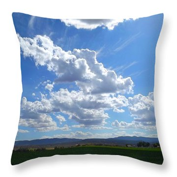 High Winds Chase The Rain Clouds Away Throw Pillow by Annie Gibbons