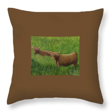 Highland Cows Throw Pillow