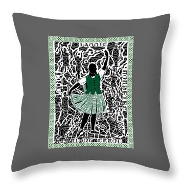 Throw Pillow featuring the digital art Highland Dancing by Darren Cannell