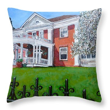 Throw Pillow featuring the painting Highland Homestead by Tom Roderick