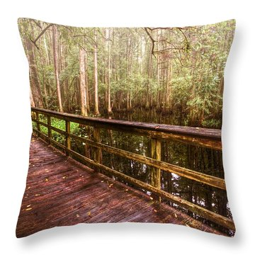Highlands Hammock Throw Pillow by Debra and Dave Vanderlaan