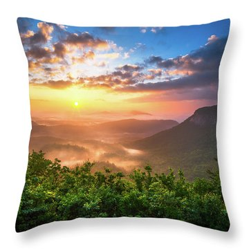 Highlands Sunrise - Whitesides Mountain In Highlands Nc Throw Pillow