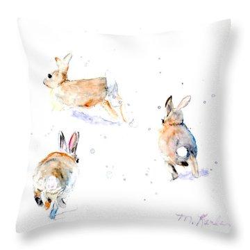 Hightailing Bunnies Throw Pillow