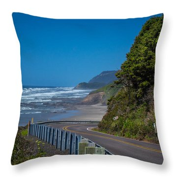 Highway 101 Oregon Coast Throw Pillow by Michael J Bauer
