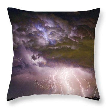 Highway 52 Storm Cell - Two And Half Minutes Lightning Strikes Throw Pillow