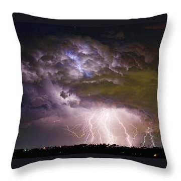 Highway 52 Storm Cell - Two And Half Minutes Lightning Strikes Throw Pillow by James BO  Insogna