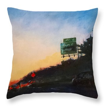 Highway At Dusk No. 1 Throw Pillow