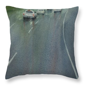Highway On The Rain02 Throw Pillow
